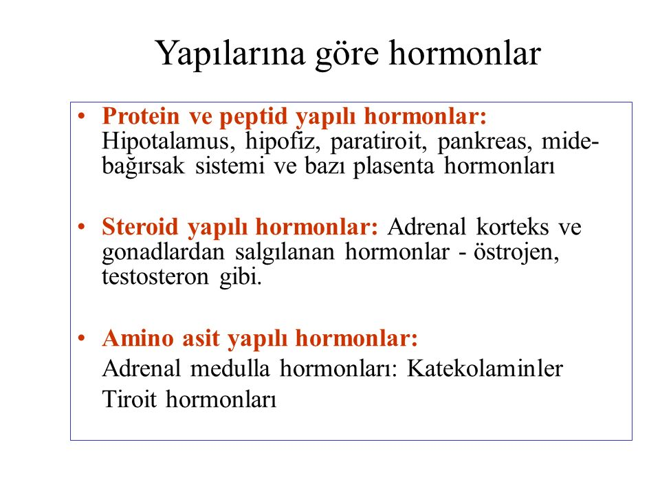 Sentezlendikleri yere göre hormonlar Hipotalamus hormonları Hipofiz hormonları Ön lop hormonları Orta lop hormonu Arka lop hormonları Tiroit hormonları Paratiroit hormonu Pankreas kormonları Böbrek üstü bezi hormonları Adrenal korteks hormonları Adrenal medulla hormonları Cinsiyet bezleri hormonları Erkek cinsiyet hormonları Dişi cinsiyet hormonları Gastrointestinal ve diğer doku hormonları