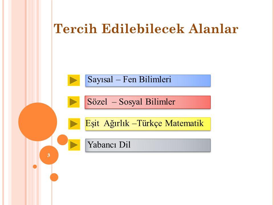 3 Tercih Edilebilecek Alanlar Sözel – Sosyal Bilimler Eşit Ağırlık –Türkçe Matematik Yabancı Dil Sayısal – Fen Bilimleri