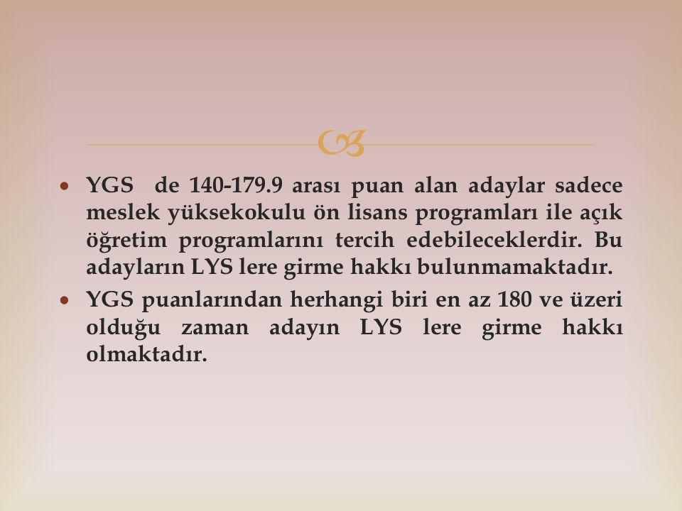   YGS de 140-179.9 arası puan alan adaylar sadece meslek yüksekokulu ön lisans programları ile açık öğretim programlarını tercih edebileceklerdir. B
