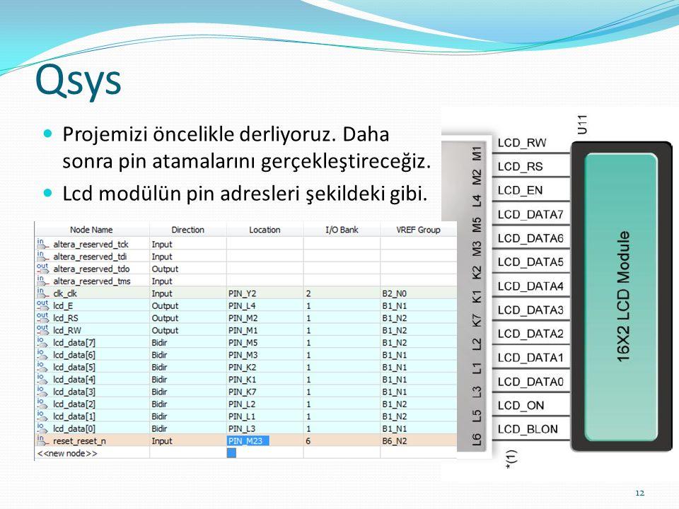 Qsys Projemizi öncelikle derliyoruz. Daha sonra pin atamalarını gerçekleştireceğiz. Lcd modülün pin adresleri şekildeki gibi. 12