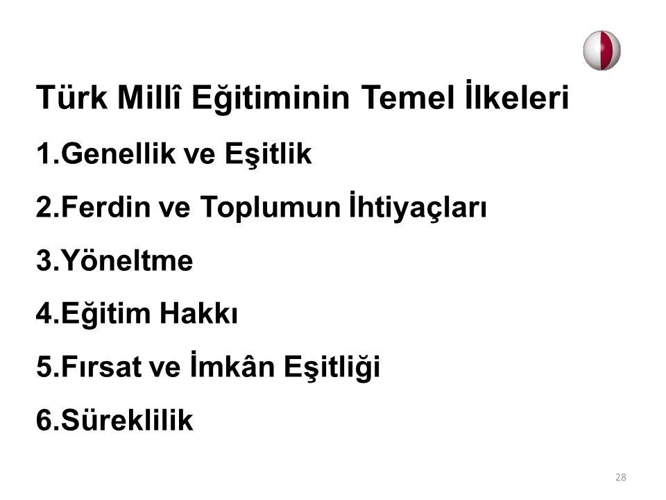 Türk Millî Eğitiminin Temel İlkeleri 1.Genellik ve Eşitlik 2.Ferdin ve Toplumun İhtiyaçları 3.Yöneltme 4.Eğitim Hakkı 5.Fırsat ve İmkân Eşitliği 6.Sür