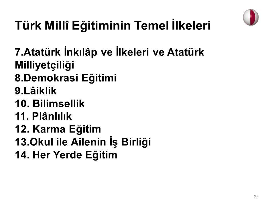Türk Millî Eğitiminin Temel İlkeleri 7.Atatürk İnkılâp ve İlkeleri ve Atatürk Milliyetçiliği 8.Demokrasi Eğitimi 9.Lâiklik 10. Bilimsellik 11. Plânlıl