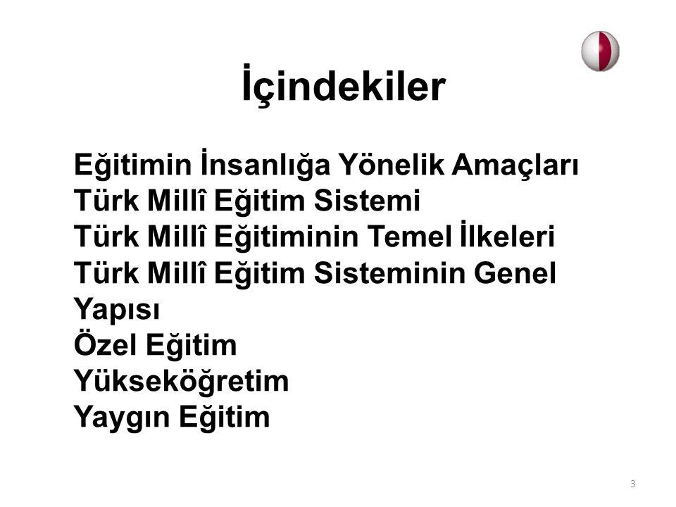 İçindekiler Eğitimin İnsanlığa Yönelik Amaçları Türk Millî Eğitim Sistemi Türk Millî Eğitiminin Temel İlkeleri Türk Millî Eğitim Sisteminin Genel Yapı