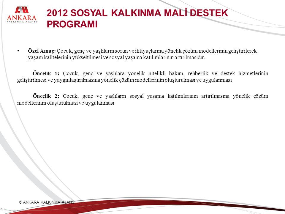 2012 SOSYAL KALKINMA MALİ DESTEK PROGRAMI Özel Amaç: Çocuk, genç ve yaşlıların sorun ve ihtiyaçlarına yönelik çözüm modellerinin geliştirilerek yaşam