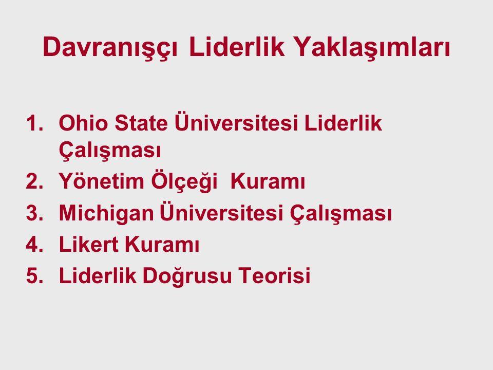 Davranışçı Liderlik Yaklaşımları 1.Ohio State Üniversitesi Liderlik Çalışması 2.Yönetim Ölçeği Kuramı 3.Michigan Üniversitesi Çalışması 4.Likert Kuram