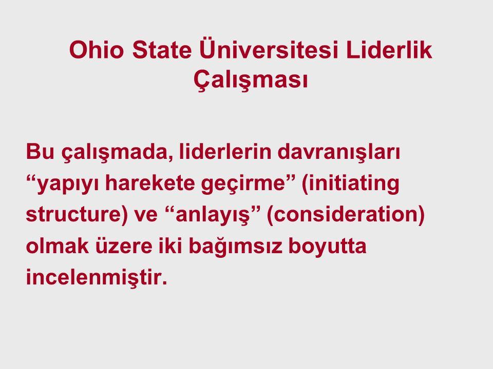 """Ohio State Üniversitesi Liderlik Çalışması Bu çalışmada, liderlerin davranışları """"yapıyı harekete geçirme"""" (initiating structure) ve """"anlayış"""" (consid"""
