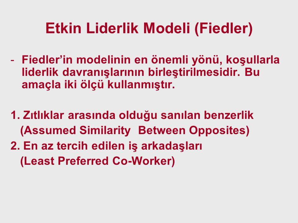 Etkin Liderlik Modeli (Fiedler) -Fiedler'in modelinin en önemli yönü, koşullarla liderlik davranışlarının birleştirilmesidir. Bu amaçla iki ölçü kulla