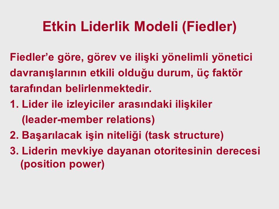 Etkin Liderlik Modeli (Fiedler) Fiedler'e göre, görev ve ilişki yönelimli yönetici davranışlarının etkili olduğu durum, üç faktör tarafından belirlenm
