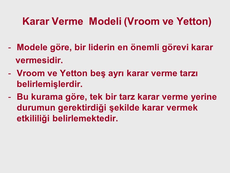 Karar Verme Modeli (Vroom ve Yetton) -Modele göre, bir liderin en önemli görevi karar vermesidir. -Vroom ve Yetton beş ayrı karar verme tarzı belirlem