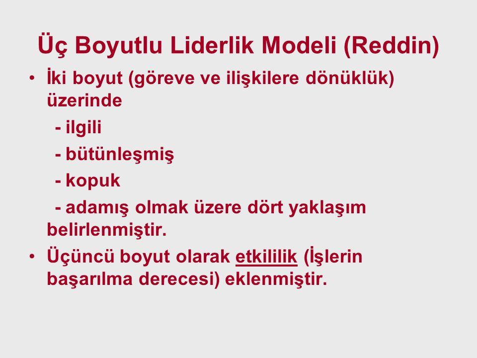 Üç Boyutlu Liderlik Modeli (Reddin) İki boyut (göreve ve ilişkilere dönüklük) üzerinde - ilgili - bütünleşmiş - kopuk - adamış olmak üzere dört yaklaş