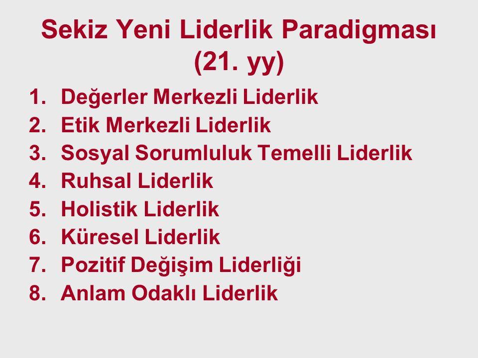 Sekiz Yeni Liderlik Paradigması (21. yy) 1.Değerler Merkezli Liderlik 2.Etik Merkezli Liderlik 3.Sosyal Sorumluluk Temelli Liderlik 4.Ruhsal Liderlik