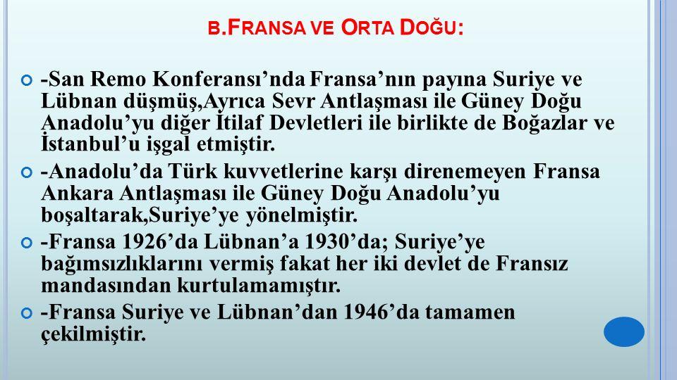 B.F RANSA VE O RTA D OĞU : -San Remo Konferansı'nda Fransa'nın payına Suriye ve Lübnan düşmüş,Ayrıca Sevr Antlaşması ile Güney Doğu Anadolu'yu diğer İ
