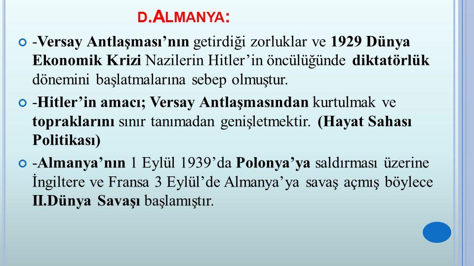 D.A LMANYA : -Versay Antlaşması'nın getirdiği zorluklar ve 1929 Dünya Ekonomik Krizi Nazilerin Hitler'in öncülüğünde diktatörlük dönemini başlatmaları