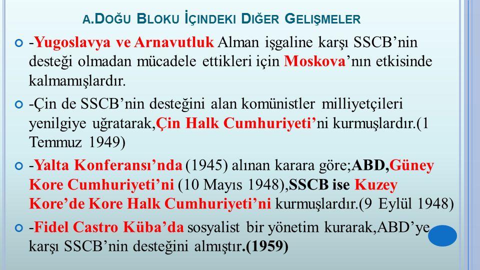 A.D OĞU B LOKU İ ÇINDEKI D IĞER G ELIŞMELER -Yugoslavya ve Arnavutluk Alman işgaline karşı SSCB'nin desteği olmadan mücadele ettikleri için Moskova'nı