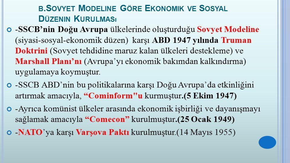 B.S OVYET M ODELINE G ÖRE E KONOMIK VE S OSYAL D ÜZENIN K URULMASı -SSCB'nin Doğu Avrupa ülkelerinde oluşturduğu Sovyet Modeline (siyasi-sosyal-ekonom