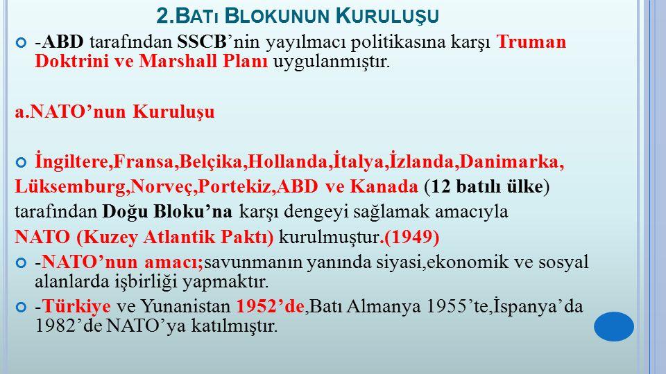 2.B ATı B LOKUNUN K URULUŞU -ABD tarafından SSCB'nin yayılmacı politikasına karşı Truman Doktrini ve Marshall Planı uygulanmıştır. a.NATO'nun Kuruluşu