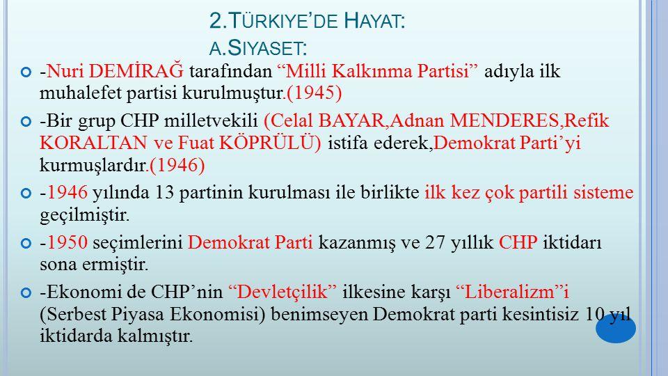 """2.T ÜRKIYE ' DE H AYAT : A.S IYASET : -Nuri DEMİRAĞ tarafından """"Milli Kalkınma Partisi"""" adıyla ilk muhalefet partisi kurulmuştur.(1945) -Bir grup CHP"""