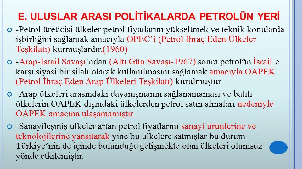 E. ULUSLAR ARASI POLİTİKALARDA PETROLÜN YERİ -Petrol üreticisi ülkeler petrol fiyatlarını yükseltmek ve teknik konularda işbirliğini sağlamak amacıyla