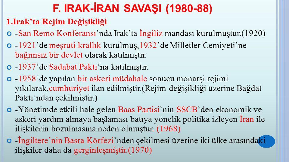 F. IRAK-İRAN SAVAŞI (1980-88) 1.Irak'ta Rejim Değişikliği -San Remo Konferansı'nda Irak'ta İngiliz mandası kurulmuştur.(1920) -1921'de meşruti krallık