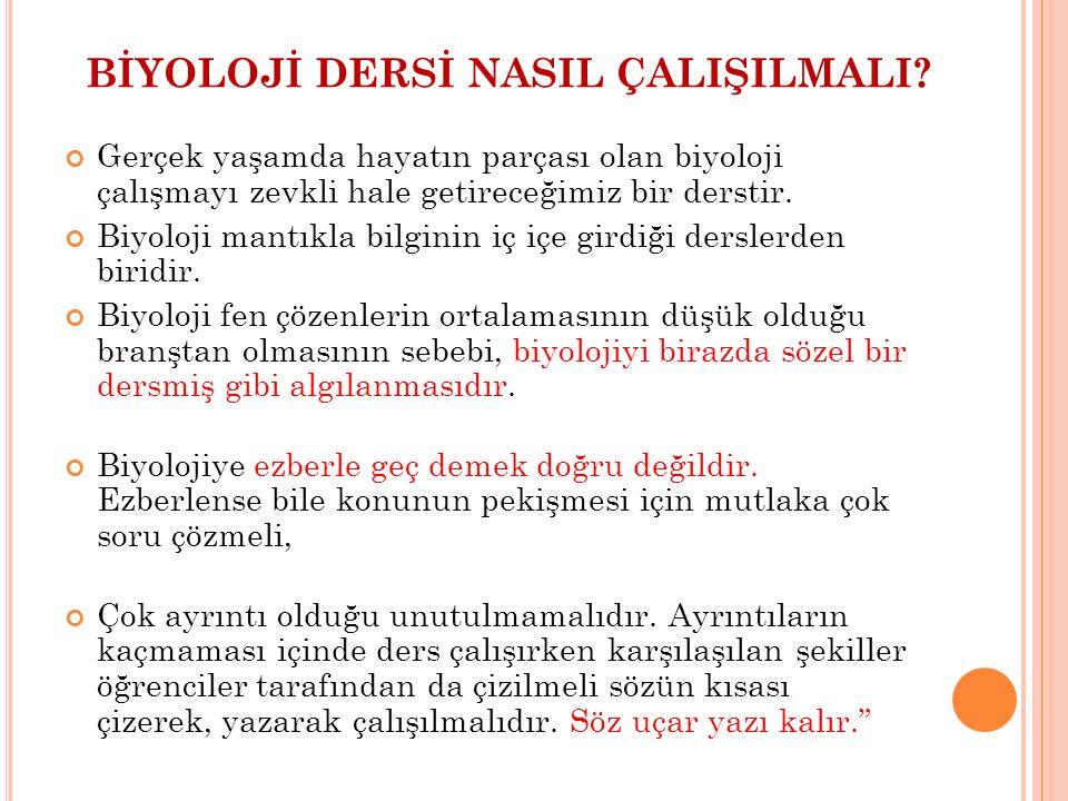 BİYOLOJİ DERSİ NASIL ÇALIŞILMALI.