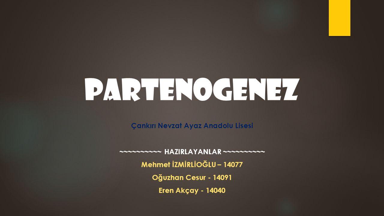 Partenogenez Çankırı Nevzat Ayaz Anadolu Lisesi ~~~~~~~~~~ HAZIRLAYANLAR ~~~~~~~~~~ Mehmet İZMİRLİOĞLU – 14077 Oğuzhan Cesur - 14091 Eren Akçay - 14040