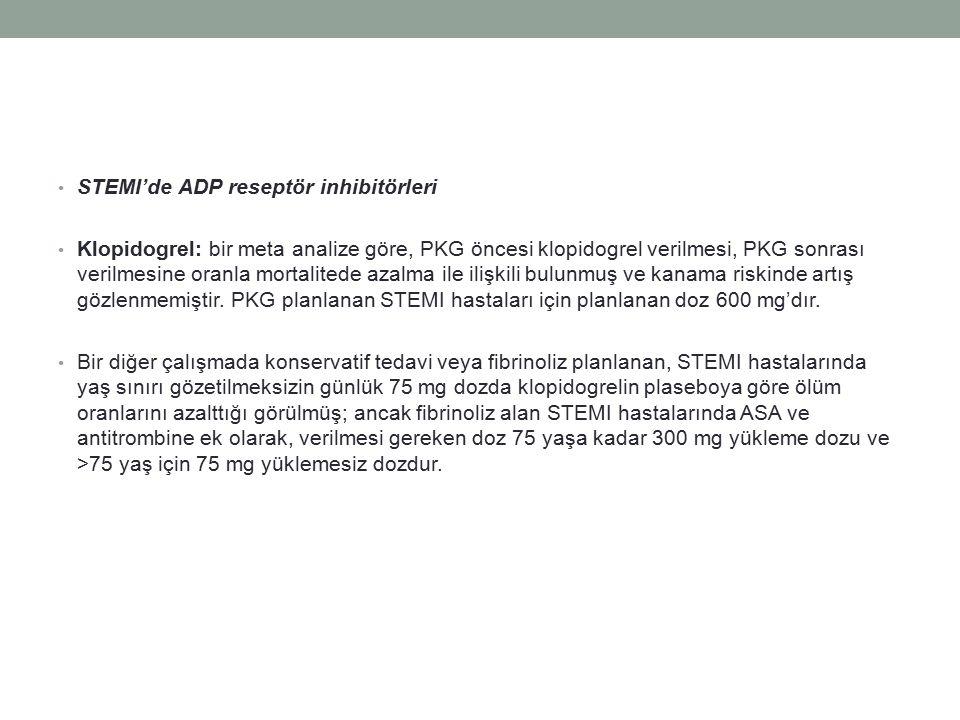 STEMI'de ADP reseptör inhibitörleri Klopidogrel: bir meta analize göre, PKG öncesi klopidogrel verilmesi, PKG sonrası verilmesine oranla mortalitede azalma ile ilişkili bulunmuş ve kanama riskinde artış gözlenmemiştir.
