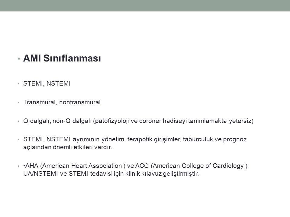 AMI Sınıflanması STEMI, NSTEMI Transmural, nontransmural Q dalgalı, non-Q dalgalı (patofizyoloji ve coroner hadiseyi tanımlamakta yetersiz) STEMI, NST