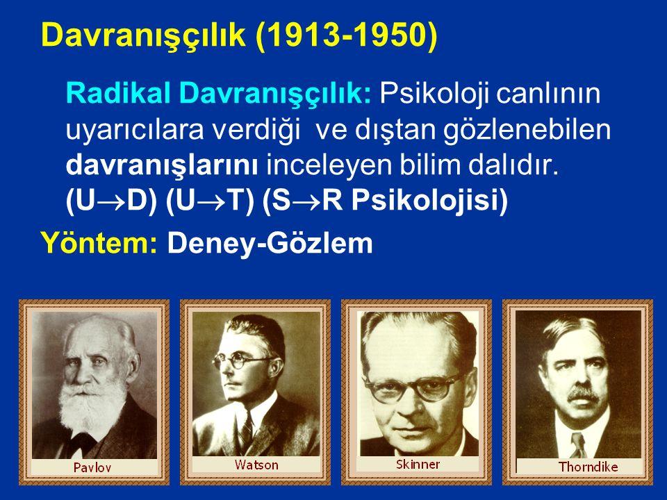 Yapısalcılık (1879-1900) Psikoloji sağlıklı insanın bilincini ögelerine analiz eden bilim dalıdır. Yöntem: içe bakış