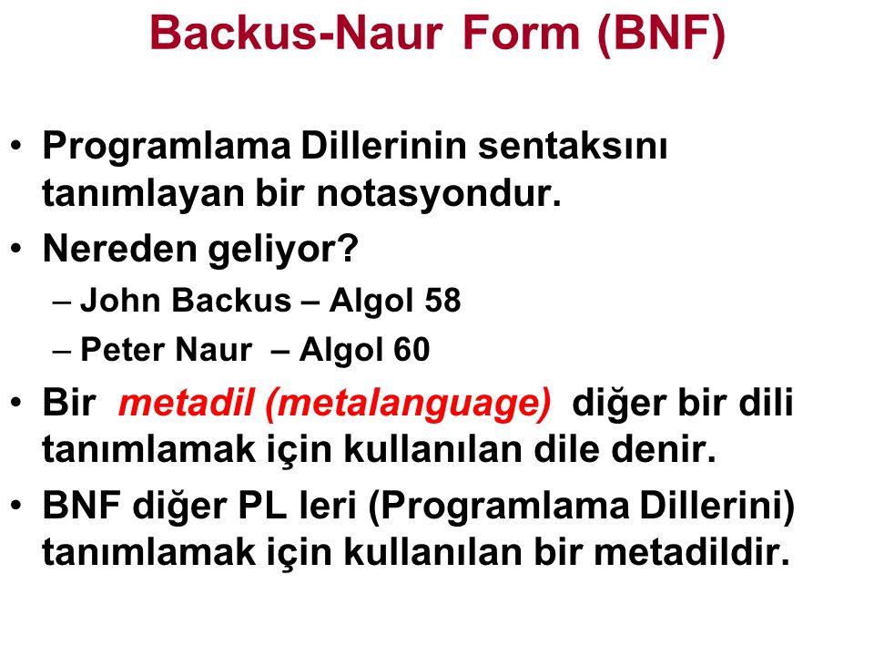 Backus-Naur Form (BNF) Programlama Dillerinin sentaksını tanımlayan bir notasyondur.
