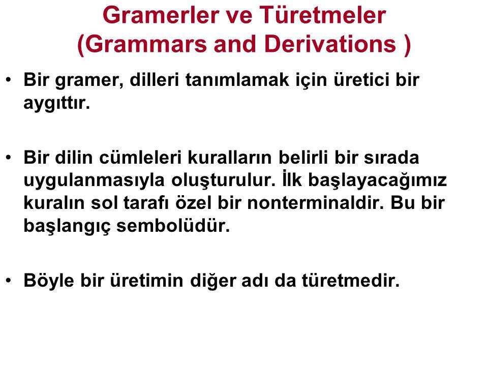 Gramerler ve Türetmeler (Grammars and Derivations ) Bir gramer, dilleri tanımlamak için üretici bir aygıttır.