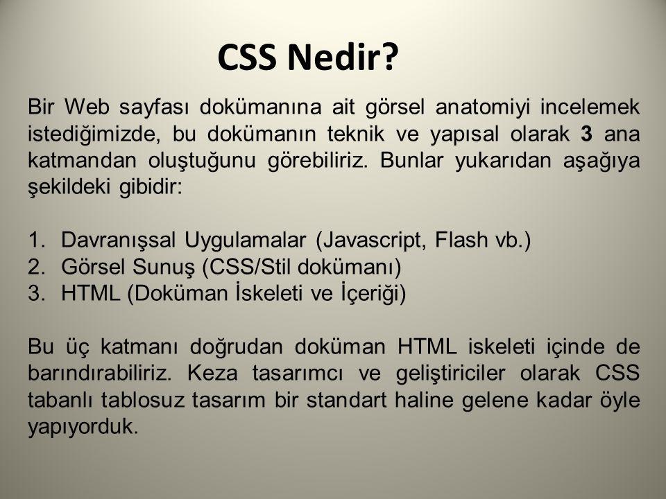 Niçin Tablosuz, CSS Destekli Tasarım.