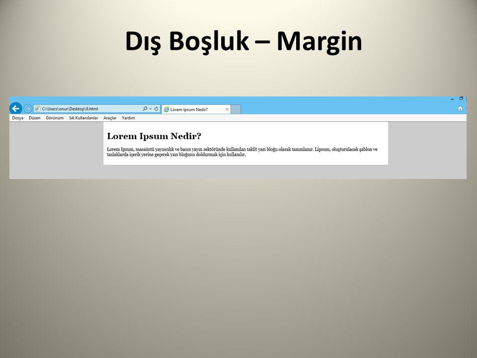 Dış Boşluk – Margin