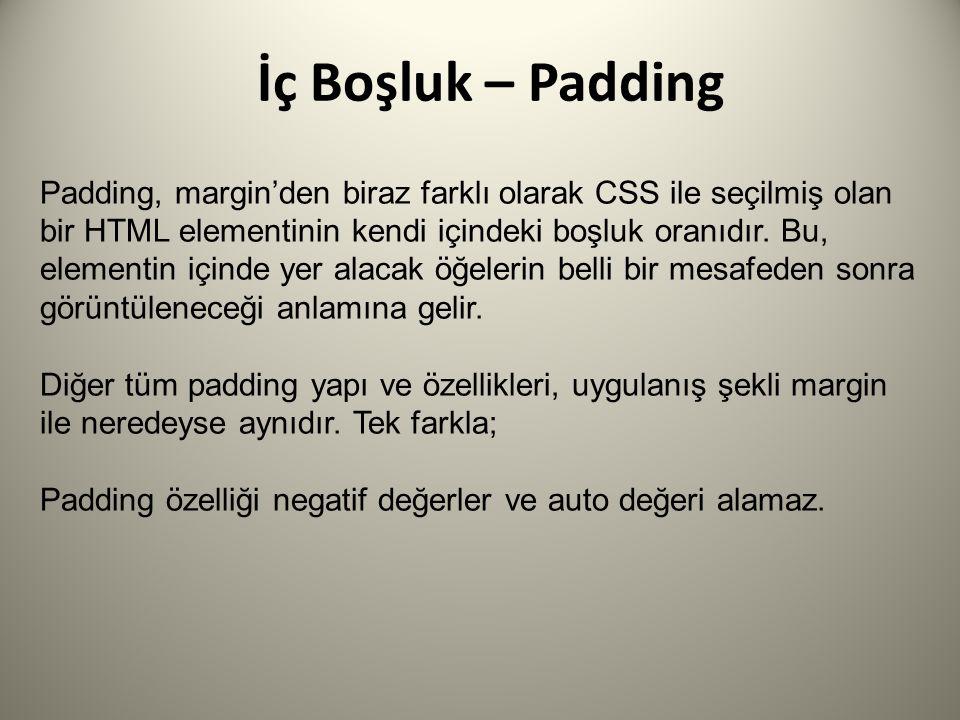 İç Boşluk – Padding Padding, margin'den biraz farklı olarak CSS ile seçilmiş olan bir HTML elementinin kendi içindeki boşluk oranıdır.