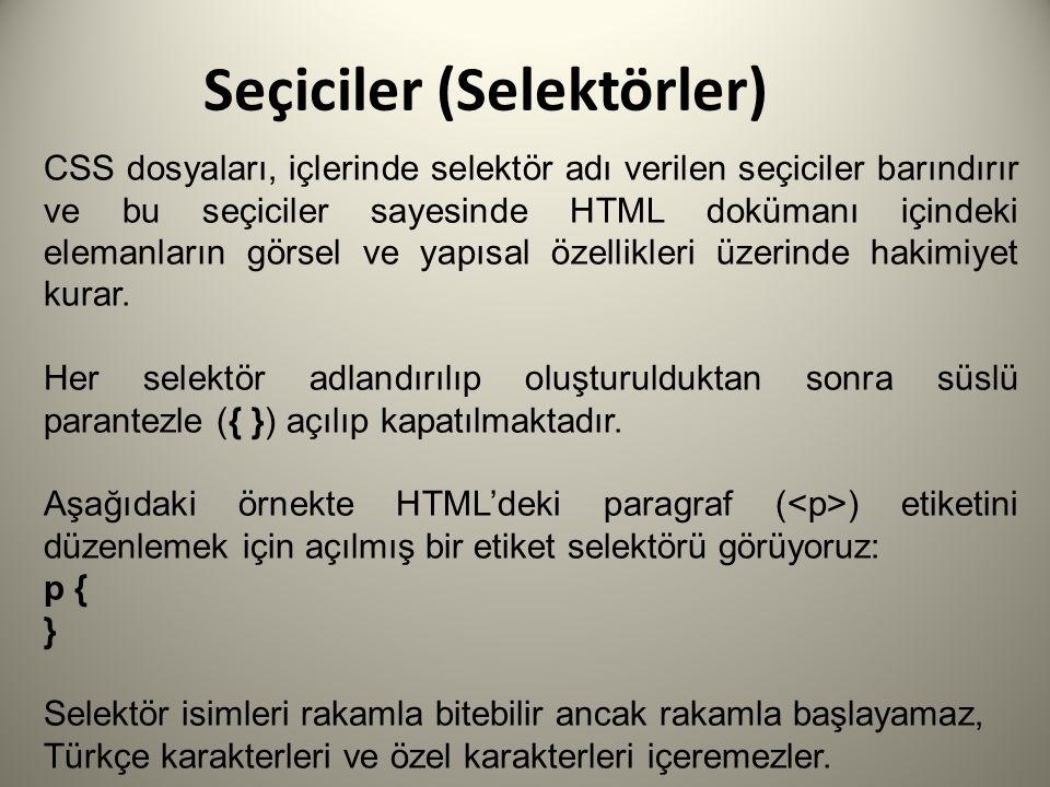 Seçiciler (Selektörler) CSS dosyaları, içlerinde selektör adı verilen seçiciler barındırır ve bu seçiciler sayesinde HTML dokümanı içindeki elemanların görsel ve yapısal özellikleri üzerinde hakimiyet kurar.