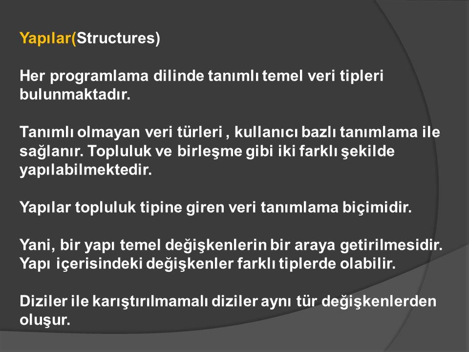 Yapılar(Structures) Her programlama dilinde tanımlı temel veri tipleri bulunmaktadır.