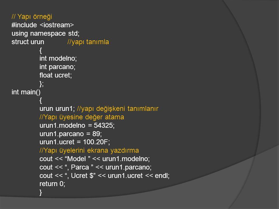 // Yapı örneği #include using namespace std; struct urun //yapı tanımla { int modelno; int parcano; float ucret; }; int main() { urun urun1; //yapı değişkeni tanımlanır //Yapı üyesine değer atama urun1.modelno = 54325; urun1.parcano = 89; urun1.ucret = 100.20F; //Yapı üyelerini ekrana yazdırma cout << Model << urun1.modelno; cout << , Parca << urun1.parcano; cout << , Ucret $ << urun1.ucret << endl; return 0; }
