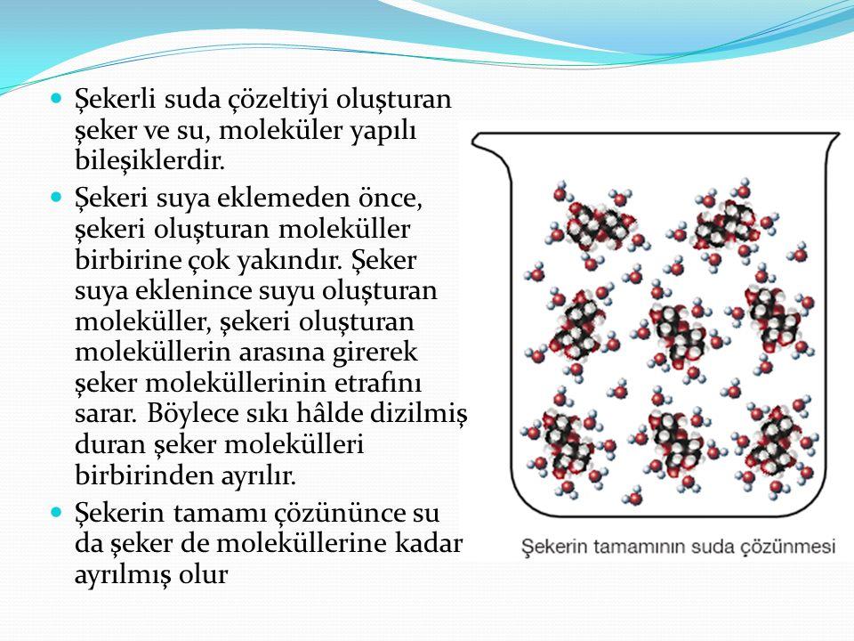 Şekerli suda çözeltiyi oluşturan şeker ve su, moleküler yapılı bileşiklerdir. Şekeri suya eklemeden önce, şekeri oluşturan moleküller birbirine çok ya
