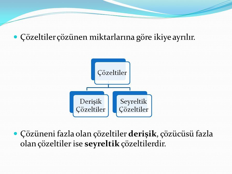 Çözeltiler çözünen miktarlarına göre ikiye ayrılır. Çözüneni fazla olan çözeltiler derişik, çözücüsü fazla olan çözeltiler ise seyreltik çözeltilerdir