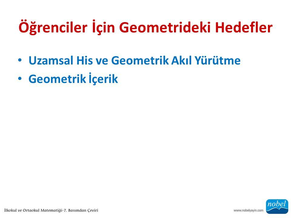 Öğrenciler İçin Geometrideki Hedefler Uzamsal His ve Geometrik Akıl Yürütme Geometrik İçerik