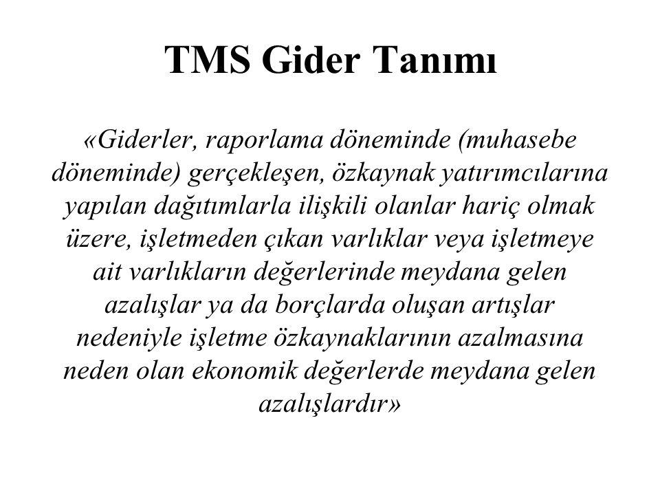 TMS Gider Tanımı «Giderler, raporlama döneminde (muhasebe döneminde) gerçekleşen, özkaynak yatırımcılarına yapılan dağıtımlarla ilişkili olanlar hariç