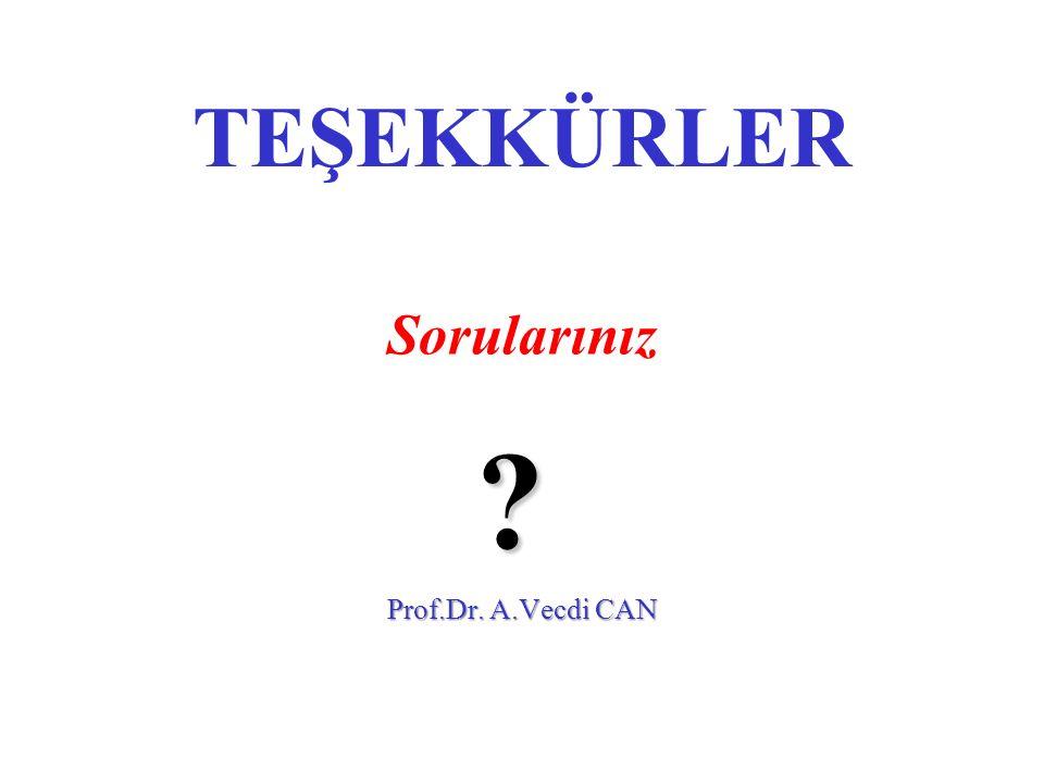 TEŞEKKÜRLER Sorularınız ? Prof.Dr. A.Vecdi CAN