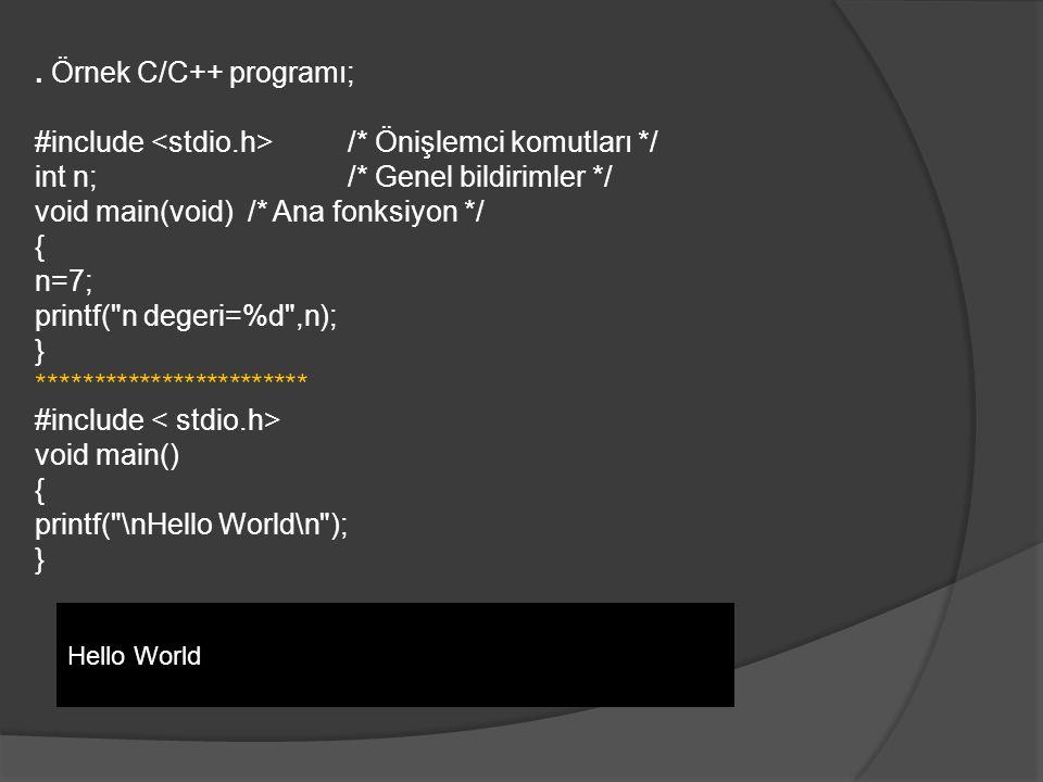 . Örnek C/C++ programı; #include /* Önişlemci komutları */ int n;/* Genel bildirimler */ void main(void) /* Ana fonksiyon */ { n=7; printf( n degeri=%d ,n); } ************************ #include void main() { printf( \nHello World\n ); } Hello World