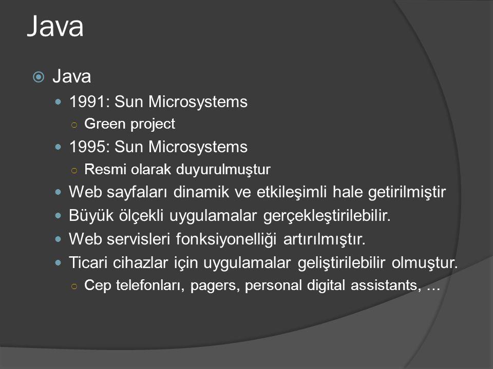 Java  Java 1991: Sun Microsystems ○ Green project 1995: Sun Microsystems ○ Resmi olarak duyurulmuştur Web sayfaları dinamik ve etkileşimli hale getirilmiştir Büyük ölçekli uygulamalar gerçekleştirilebilir.