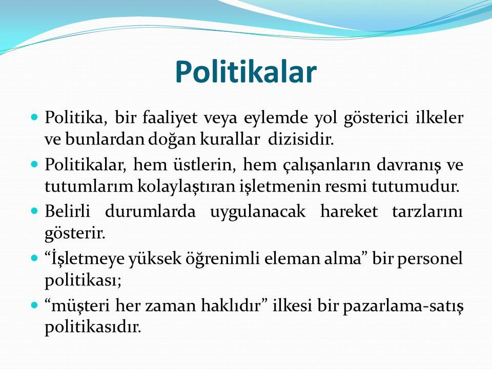 Politikalar Politika, bir faaliyet veya eylemde yol gösterici ilkeler ve bunlardan doğan kurallar dizisidir. Politikalar, hem üstlerin, hem çalışanlar
