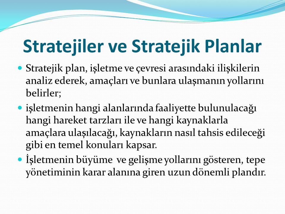 Stratejiler ve Stratejik Planlar Stratejik plan, işletme ve çevresi arasındaki ilişkilerin analiz ederek, amaçları ve bunlara ulaşmanın yollarını beli
