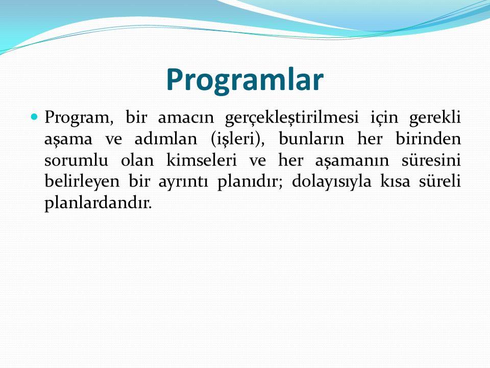 Programlar Program, bir amacın gerçekleştirilmesi için gerekli aşama ve adımlan (işleri), bunların her birinden sorumlu olan kimseleri ve her aşamanın