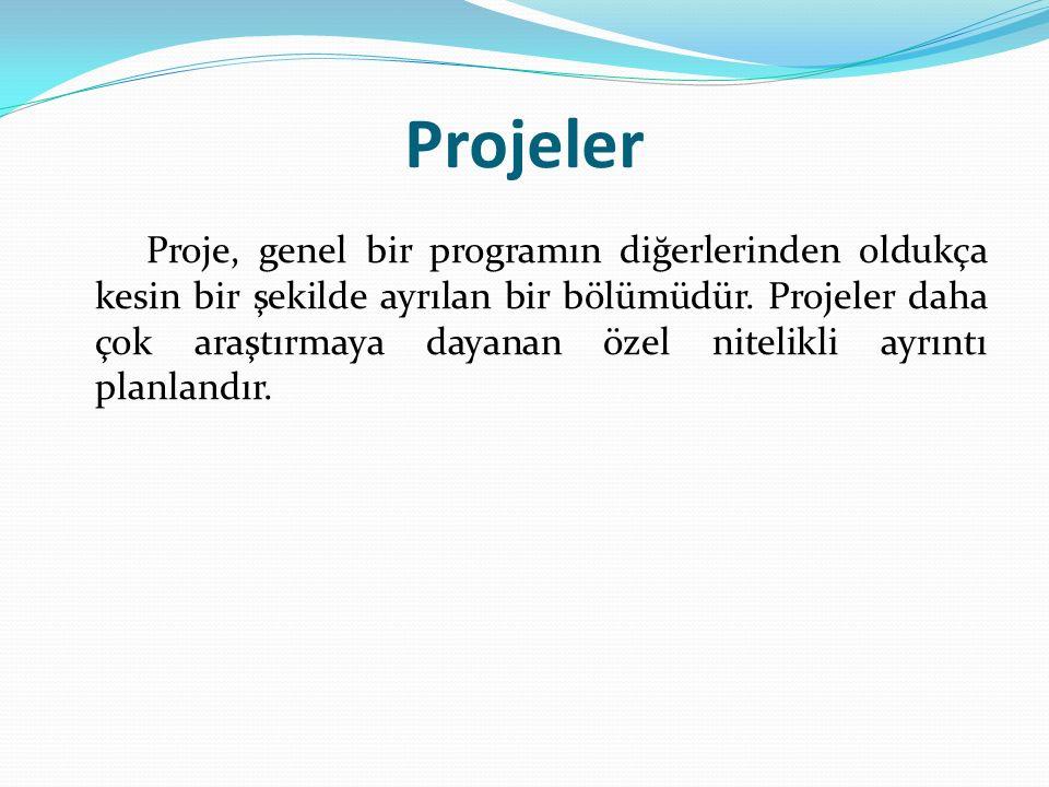 Projeler Proje, genel bir programın diğerlerinden oldukça kesin bir şekilde ayrılan bir bölümüdür. Projeler daha çok araştırmaya dayanan özel nitelikl