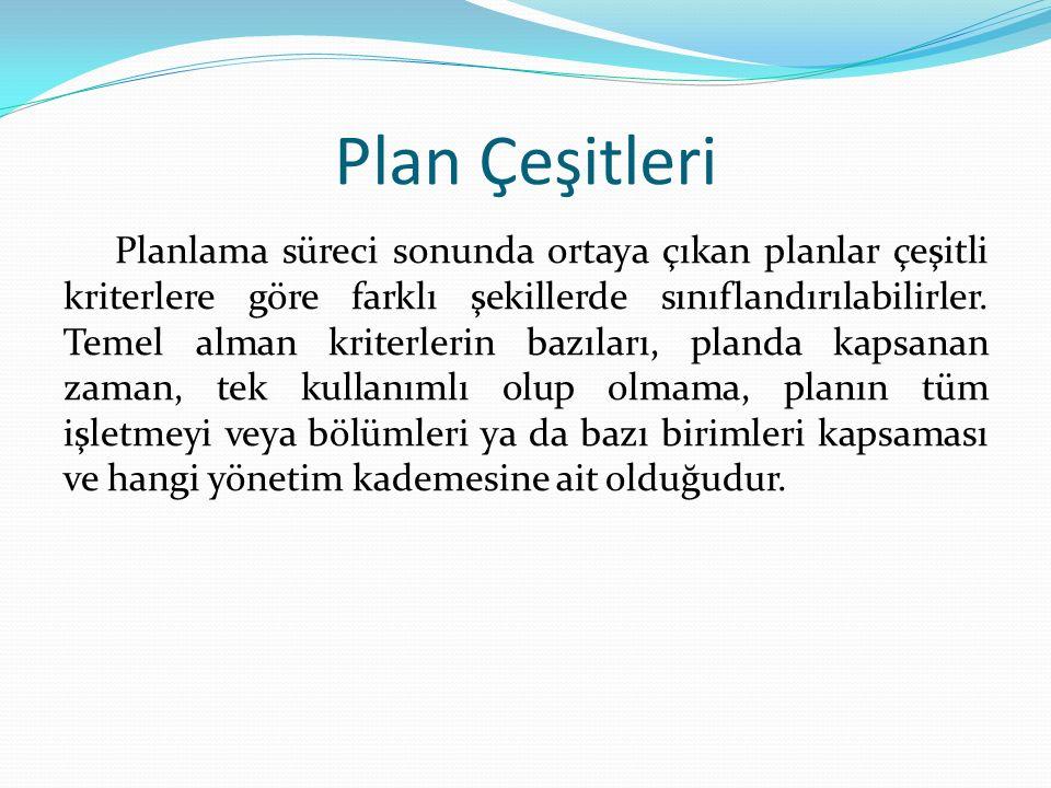 Plan Çeşitleri Planlama süreci sonunda ortaya çıkan planlar çeşitli kriterlere göre farklı şekillerde sınıflandırılabilirler. Temel alman kriterlerin