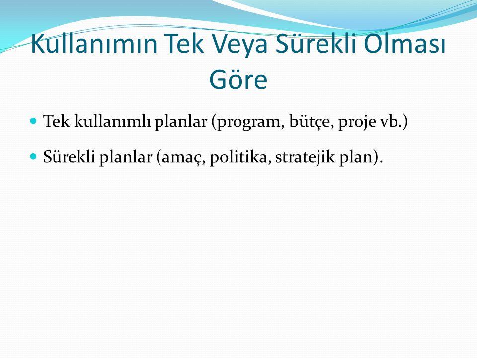 Kullanımın Tek Veya Sürekli Olması Göre Tek kullanımlı planlar (program, bütçe, proje vb.) Sürekli planlar (amaç, politika, stratejik plan).