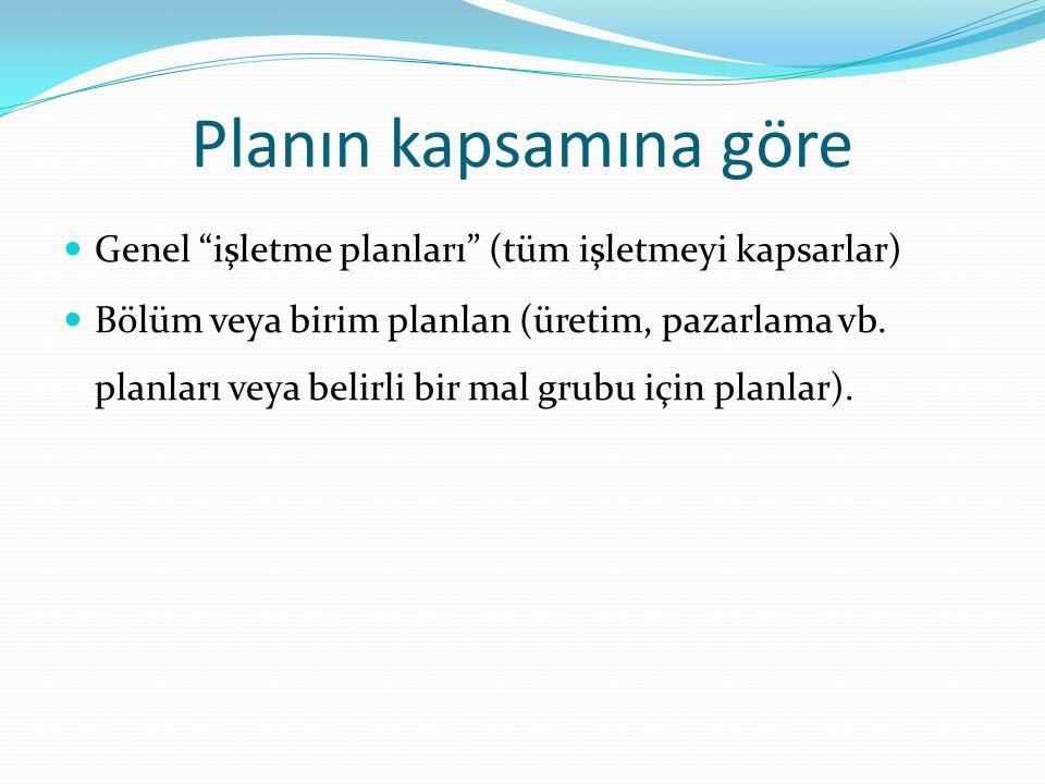 Planlar, hangi yönetim kademesine ait olduklarına göre de üçe ayrılabilir Tepe yönetimince yapılanlar (amaçlar, politikalar, stratejiler, uzun vadeli stratejik planlar) Orta kademe yönetimince yapılanlar (tamamlayıcı amaçlar, bölüm planları, politikaları ve stratejileri) Alt kademe yönetimince yapılanlar (kısa dönemli amaçlar, projeler, tarifeler, iş programları).